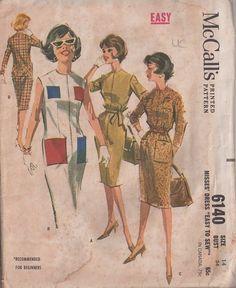 MOMSPatterns Vintage Sewing Patterns - McCall's 6140 Vintage 60's Sewing Pattern SNAZZY Rockabilly Easy Mad Men Front Zippered Sheath Dress,...