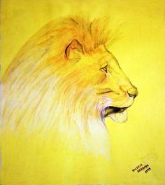 """""""Belleza Felina"""", acuarela, acuarela, 30 x 40, 1999.  #arte #art #artesvisuales #pintura #acuarela #leon #felino"""