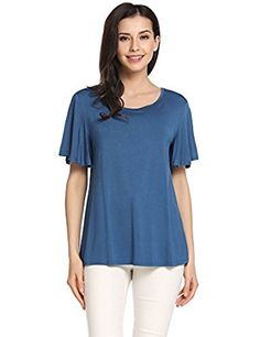 Meaneor Womens Short Sleeve Summer Tops Casual Flounce Loose T-Shirt Black Dark Blue Grey: Amazon.co.uk: Clothing. UK women t shirts. UK women t-shirts.  Feels great on your skin. It's an Amazon affiliate link.