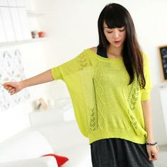 59 Seconds - Bat-Wing Sleeves Knit Top
