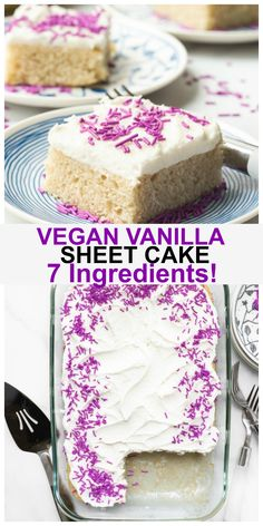 This is the easiest BEST Easy Vegan Vanilla Cake you will ever make! It is only 7 ingredients and takes just 10 minutes prep time. It is incredibly light, fluffy, moist and amazingly, delicious! Oil-free and it is the perfect vegan vanilla sheet cake perfect for birthday parties or events. #vegan #vanilla #cake #birthday #dessert