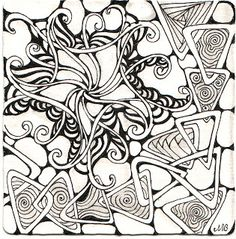 Shelly Beauch, Certified Zentangle Teacher.  One of my favorite Fengel uses done here by Shelly