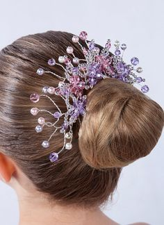 Bun Wrap Tiara for Ballet, Classical Dance or Figure Skating - Sparking Headpiece with Mauve and Lilac Swarovski Crystals