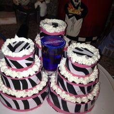 Zebra and pink mini cakes with a pre-made shot for my friends 21st birthday