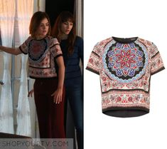 """Aria Montgomery (Lucy Hale) wears this paisley short sleeved crop top in this episode of Pretty Little Liars, """"Do Not Disturb""""."""