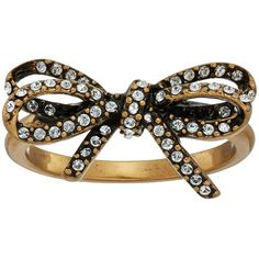 Marc Jacobs Bow Pave Twisted Ring (Crystal/Antique Gold) Ring ($70) ❤ liked on Polyvore featuring jewelry, rings, crystal bow ring, diamond accent rings, twist bow ring, bow tie ring and crystal jewelry