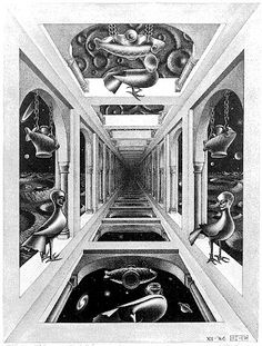 "OPENING // COMPOSITION. M. C. Escher- ""Gallery""- December 1946 (first state)- April 1949 (further states), Mezzotint, fourth state."
