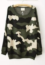 Green Camouflage Round Neck Oversized Knitted Sweater $69