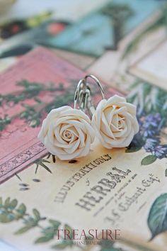Ivory rose earrings rose earrings ivory flower earrings