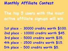 www.FollowersLikeHits.Com offers Monthly Affiliate Contest  The top 5 users with the most active affiliate signups will win. 1st place - 30000 credits worth $100. 2nd place - 10000 credits worth $45. 3rd place - 5000 credits worth $25. 4th place - 2500 credits worth $15. 5th place - 500 credits worth $5.