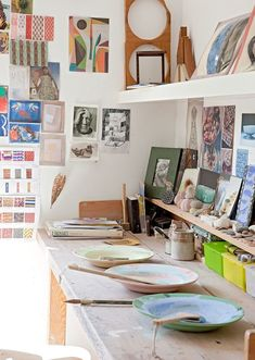 With an idyllic garden studio next door to her house, ceramicist Lucy Dunce has an enviable life on the East Lothian coastline of Scotland, one which she a Artist Workspace, Office Workspace, Interior Work, Interior And Exterior, Pottery Studio, Pottery Clay, Slab Pottery, Art Studios, Design Studios