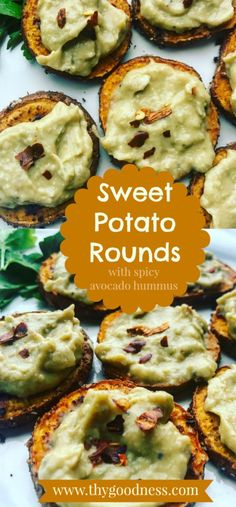Sweet Potato Rounds with Spicy Avocado Hummus | thy goodness