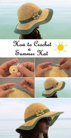 Crochet Summer Hat all in one – Pattern, Video, Chart – Knitting patterns, knitting designs, knitting for beginners. Crochet Summer Hats, Crochet Girls, Crocheted Hats, Summer Knitting, Arm Knitting, Crochet Shawl, Crochet Stitches, Knit Crochet, Sun Hat Crochet