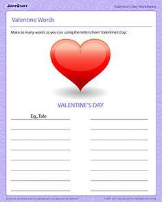 Valentine Words - Printable Valentine's Day Worksheet