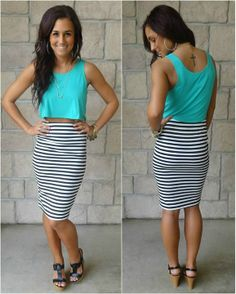Love this outfit, color, maxi stripe skirt and teal top. LOVE!