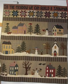 Could use elements from this wintry quilt for a Christmas country wallhanging above the fire mantle!