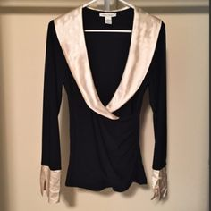 WHBM Black Faux Wrap Top WHBM Black Faux Wrap Top.  Fitted, stretchy long sleeve top with cream satin collar and French cuffs.  Gorgeous.  EUC - worn only once. White House Black Market Tops Blouses