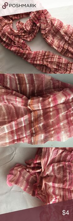 Pink Striped Scarf Blush Mesh Infinity Blanket This adorable scarf can be worn all year long! The fabric is breathable for warmer days but can also be easily layered when it's chilly.  * Smoke free home Accessories Scarves & Wraps