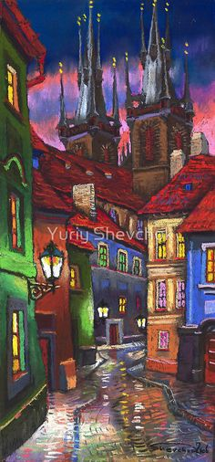 Prague Old Street 2 by Yuriy Shevchuk