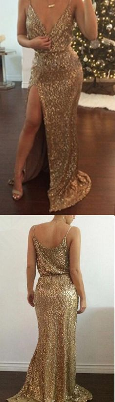Gold Sequined Party Dress Evening Dress Prom Dress,Gold prom dresses