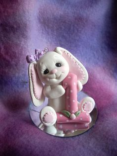*POLYMER CLAY ~ rabbit cake topper personalized Christmas ornament polymer clay gift bunny first 1st birthday