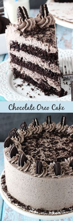 Chocolate Oreo Cake is to die for! A moist chocolate cake full of Oreo icing! And not just any Oreo icing - it is FULL of crushed up Oreos. An Oreo lover's dream. Chocolate Oreo Cake, Chocolate Desserts, Delicious Chocolate, Oreo Desserts, Chocolate Cream, Chocolate Frosting, Chocolate Smoothies, Chocolate Shakeology, Chocolate Crinkles