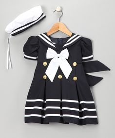 Take a look at this Navy Sailor Dress & Hat - Infant, Toddler & Girls on zulily today!