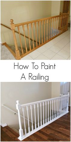 Learn how to paint stair railings with this step-by-step tutorial. Painting your railing is a budget-friendly way to give it an amazing update! How To Paint Stair Railings Jann Newton Painted Stair Railings, Stair Banister, Painted Staircases, Painted Stairs, Banisters, Spiral Staircases, Staircase Painting, Diy Stair, How To Paint Stairwell