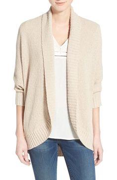 Caslon® Open Front Cotton Blend Cardigan (Regular   Petite) available at   Nordstrom da11d4911fba