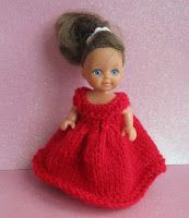 """Scarlet 4"""" Dolls Dress    To fit  4 - 4.5"""" tall doll   4 ply yarn  3.25 mm knitting needles  Cast on 60 stitches  Knit 2 rows  work in st..."""