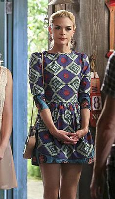 Lemon's geometric printed dress on Hart of Dixie. Outfit Details: http://wornontv.net/46197/ #HartofDixie