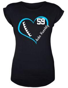 Luke Kuechly // Carolina Panthers // Football Shirt // Football Addict // Sports Fan by DivaDesignsByDesirae on Etsy Football Cheer, Football Mom Shirts, Softball Shirts, Football Outfits, Team Shirts, Sports Shirts, Football Moms, Baseball, Carolina Panthers Football