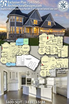 Architectural Designs Exclusive Home Plan gives you bedrooms 3 5 baths and 3 600 sq ft with an optional lower level 1 500 sq ft Ready when you are Where do YOU want to build Family House Plans, Dream House Plans, House Floor Plans, My Dream Home, Unique House Plans, Craftsman Outdoor Lighting, The Plan, How To Plan, House Blueprints