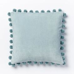 Jay Street Ashti Pom Pom Pillow Cover - Pale Harbor | west elm  2 for the family/playroom couch