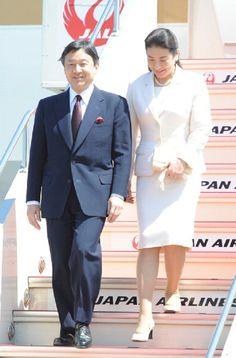 Crown Prince Naruhito and Crown Princess Masako are seen upon arrival at Haneda International Airport on 3 May 2013 in Tokyo
