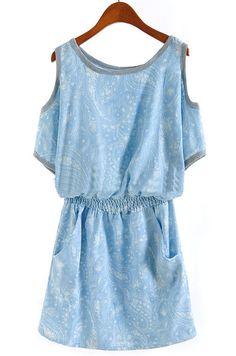 Blue Off the Shoulder Bandeau Floral Dress - Sheinside.com