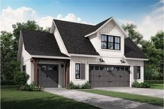 This great 2-story garage plan, which would blend well with a Colonial or Cape Cod style home, has 522 square feet of heated and cooled living space, including a bedroom, full bathroom, kitchen, living room, and laundry space – great as an in-law suite or as guest quaters.