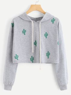Romwe Cactus Print Crop Hoodie is part of Cute outfits - Girls Fashion Clothes, Teen Fashion Outfits, Outfits For Teens, Cute Sweatshirts, Cute Shirts, Hooded Sweatshirts, Crop Top Outfits, Cute Casual Outfits, Stylish Hoodies