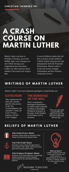 Christian Thinkers: Martin Luther infographic biographical information theologian theology Reformation Sunday, Catholic Beliefs, Christianity, Martin Luther Quotes, Martin Luther Reformation, Early Church Fathers, Kids Church, Church Ideas, 5 Solas