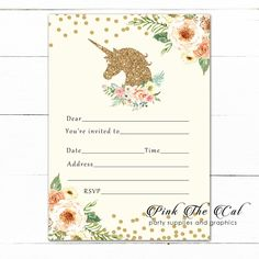 Unicorn Invitation Fill In Blank Peach Gold Birthday Printable – Pink The Cat