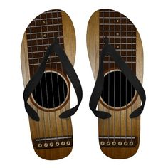 Acoustic Guitar Flip Flops/ he so needs these!