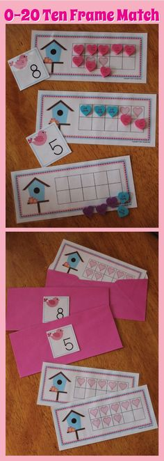 Valentine love bird ten frame math activity.  Kids can learn number recognition, counting, composing and decomposing numbers... Use with envelopes for extra fine motor practice or with a post office them.  Perfect for your Valentine or February math learning centers for preschool, pre-k, kindergarten and busy bags.
