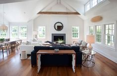 white chairs on the right Living Room Inspiration, Design Inspiration, Cliff House, Modern Farmhouse, Beach House, New Homes, Dining Table, Interior Design, Furniture