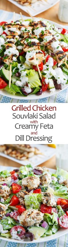 Grilled Chicken Souvlaki Salad with Creamy Feta and Dill Dressing dress with tsaziki instead, easy grill dinner) Antipasto, Light Summer Meals, Dill Dressing, Chicken Souvlaki, Tapas, Clean Eating, Healthy Eating, Healthy Food, Cooking Recipes