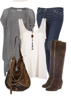Tank, blue Indian sweater, jeans, black boots