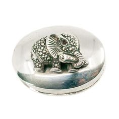 """Binenbaum Antiques & Jewelry - This stunning """"elephant"""" Contemporary box feature surrounded by Marcasites (Pyrite) and Garnet crafted in Silver. Materials: Garnet, Marcasite (Pyrite), Silver. Dimensions: H 2 x L 4 x W 3 cm. Weight in grams: 20. Condition: New."""