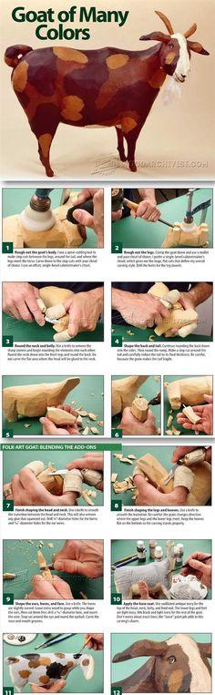 Folk Art Wood Carving Goat - Wood Carving Patterns and Techniques | WoodArchivist.com
