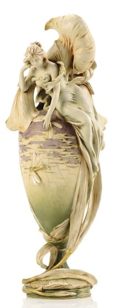 AMPHORA vase, top draped with an iris blossom and a beautiful woman, by RIESSENER, STELLMACHER & KESSEL, c. 1901,