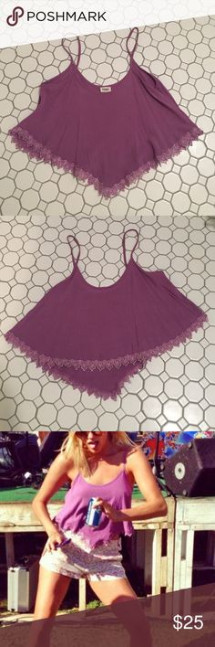 Purple crop top Fits awesome, looks good with high waisted shorts. Looks like new, perfect condition! Tobi Tops Crop Tops