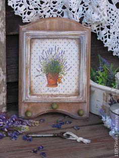 """"""" Lavender """" Панно-вешалка. - коричневый,панно декупаж,вешалка,вешалка для кухни"""
